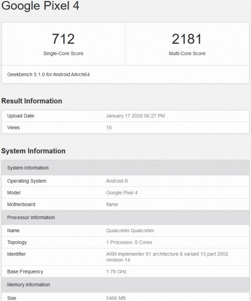 GeekBench list shows Android R