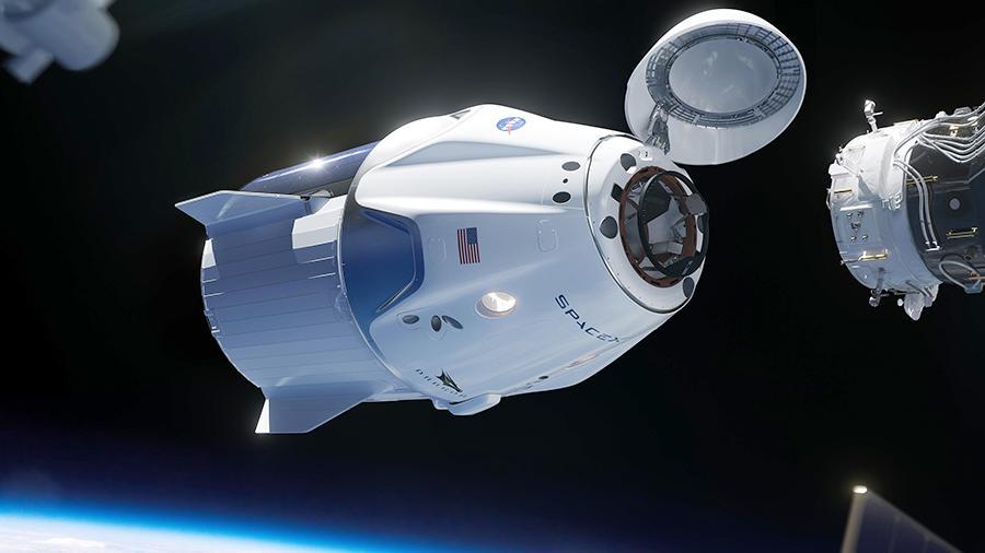 Crew Dragon docking illustration with ISS