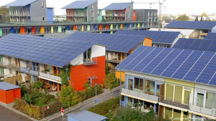 Solar panels on the roofs of houses in the city of Freiburg, Germany