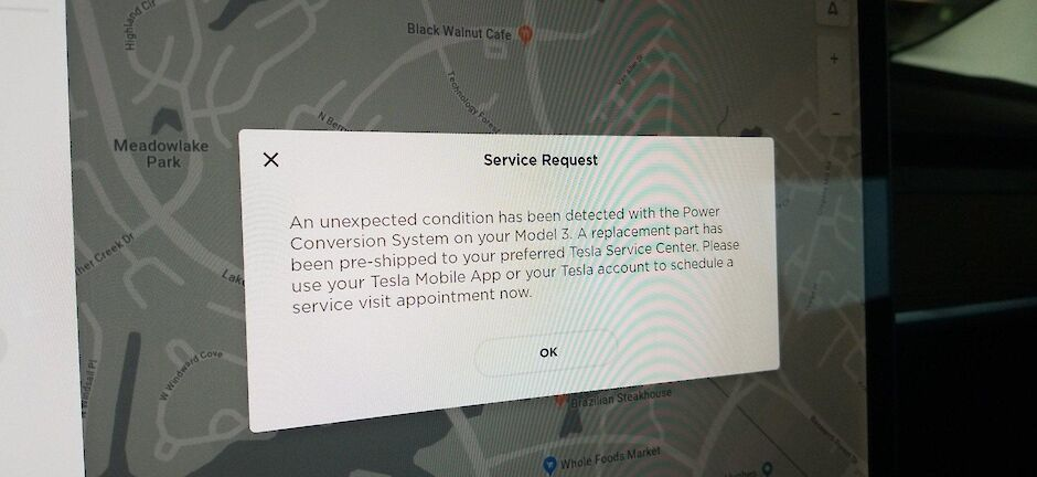 tesla's notification with a service request