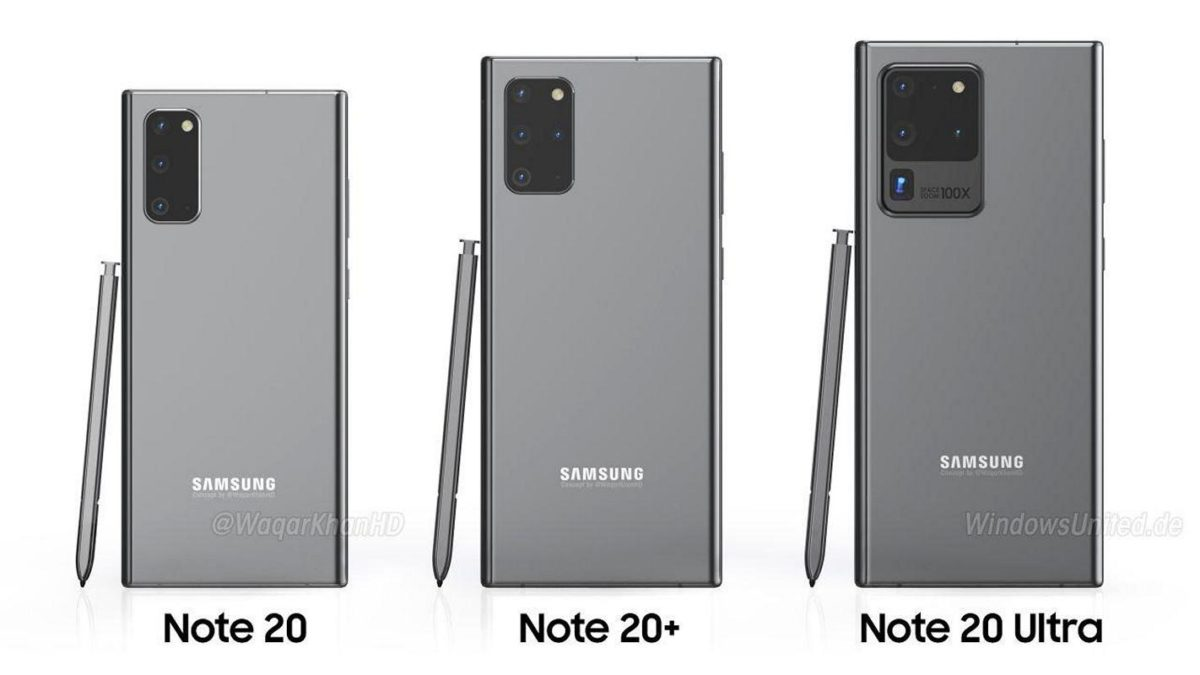 This is what the Samsung Note20, Note20 + and Note20 Ultra will look like