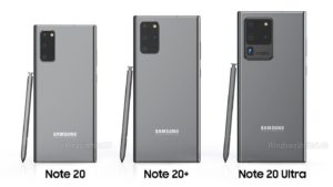 This is what the Samsung Note20, Note20+ and Note20 Ultra will look like