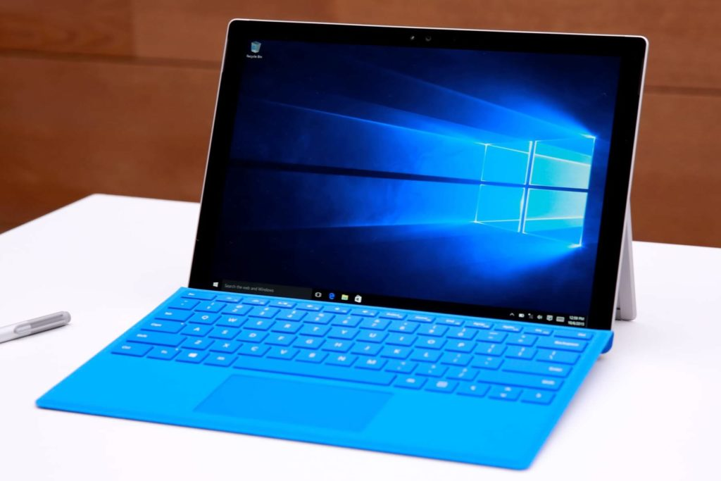 Blue Laptop With The Windows 10