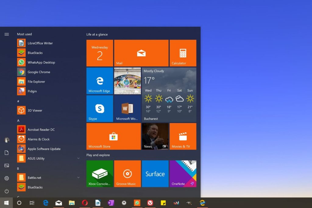 Start Menu of Windows 10 Lite